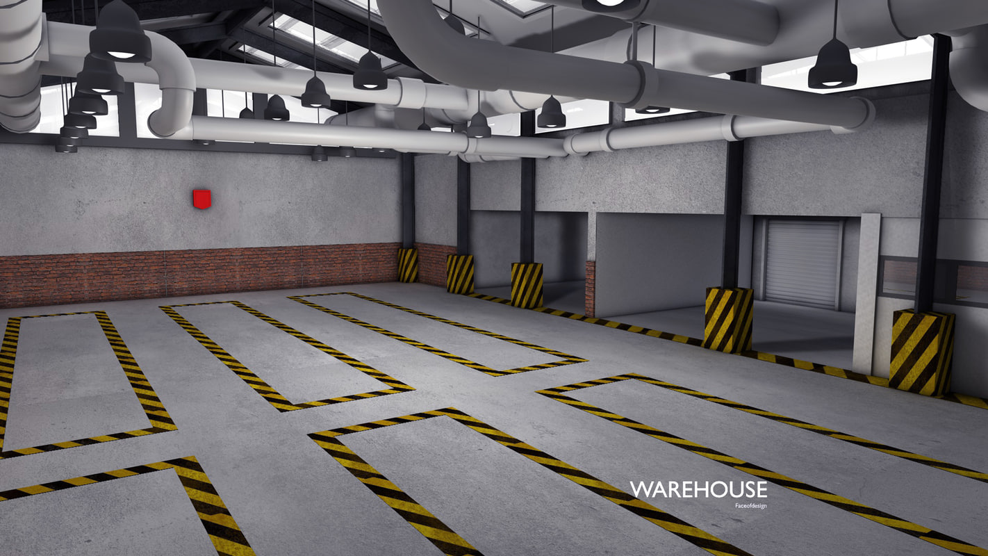3d model of warehouse house