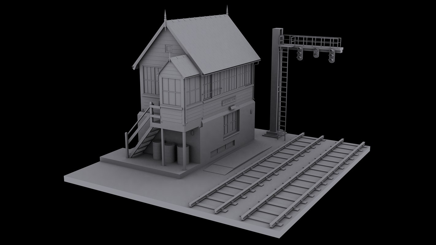 3ds max railway signal station