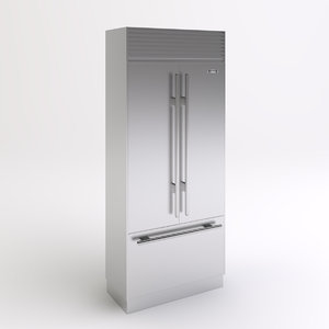 3dsmax stainless steel refrigerator
