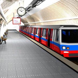 cartoon subway station 3d model