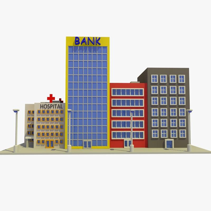 3d Cartoon Street 1 Buildings