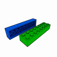 3d piece lego brick 2x8