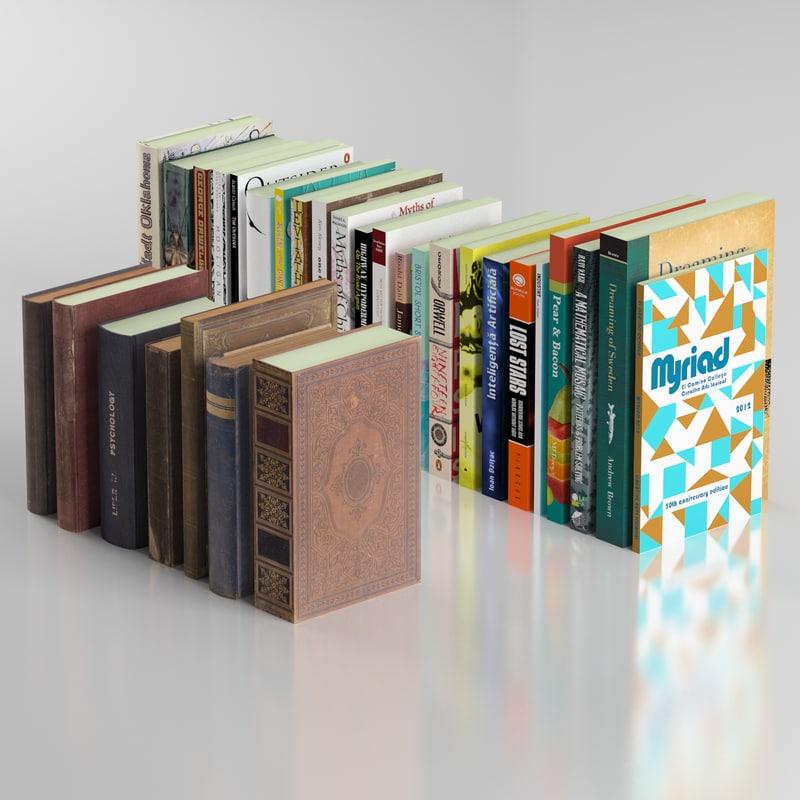3d model blender 7 old books