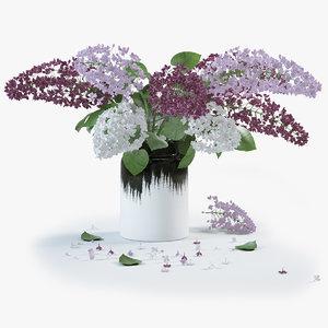 3d lilac flower vase