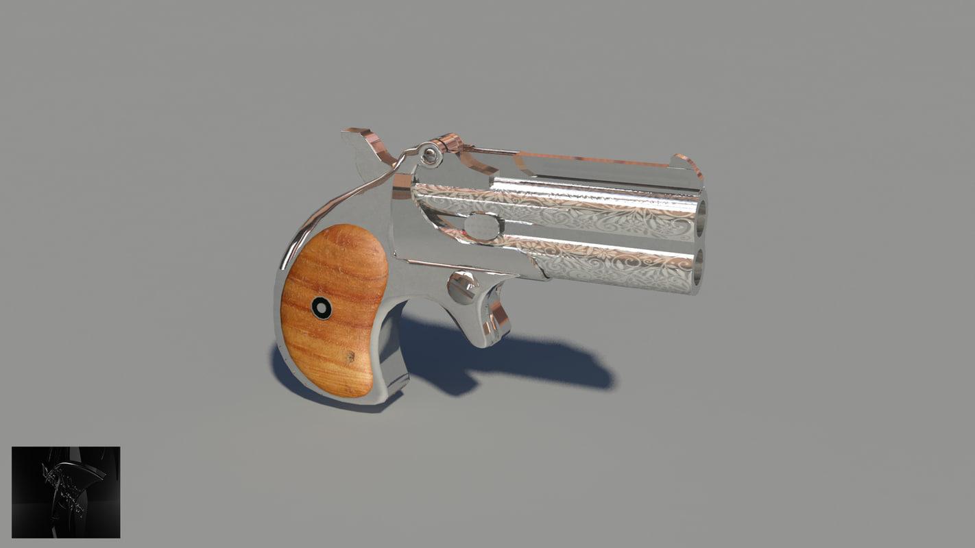 nickel derringer pistol gun 3d model