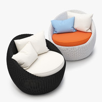3d model of luna patio rattan chair