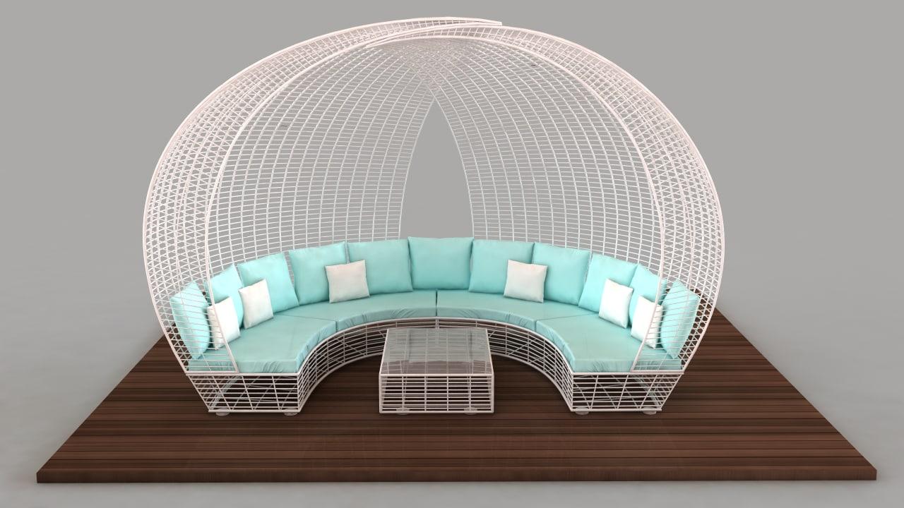 3d model of bed chill sofa balinesa