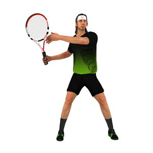 rigged tennis player animations 3d max