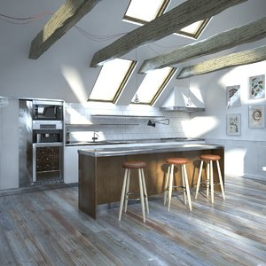 scene interior attic 3d max