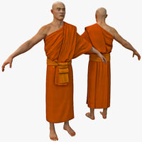 3d model buddhist monk