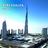 3d model dubai burj khalifa