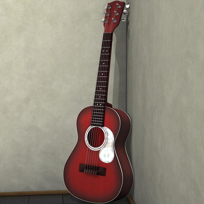 guitar acoustic 3d obj