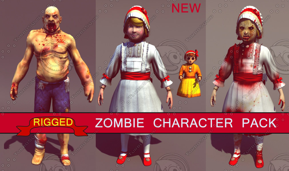 3d model pack zombie girl characters