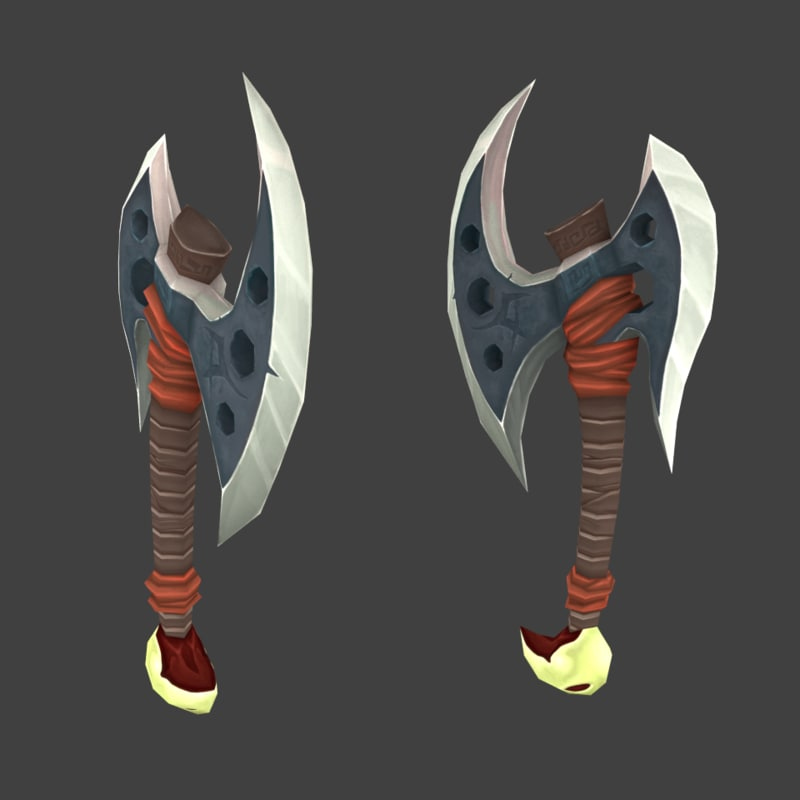 battle axe 3d blend