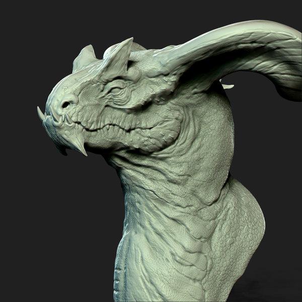3d model dragon head print