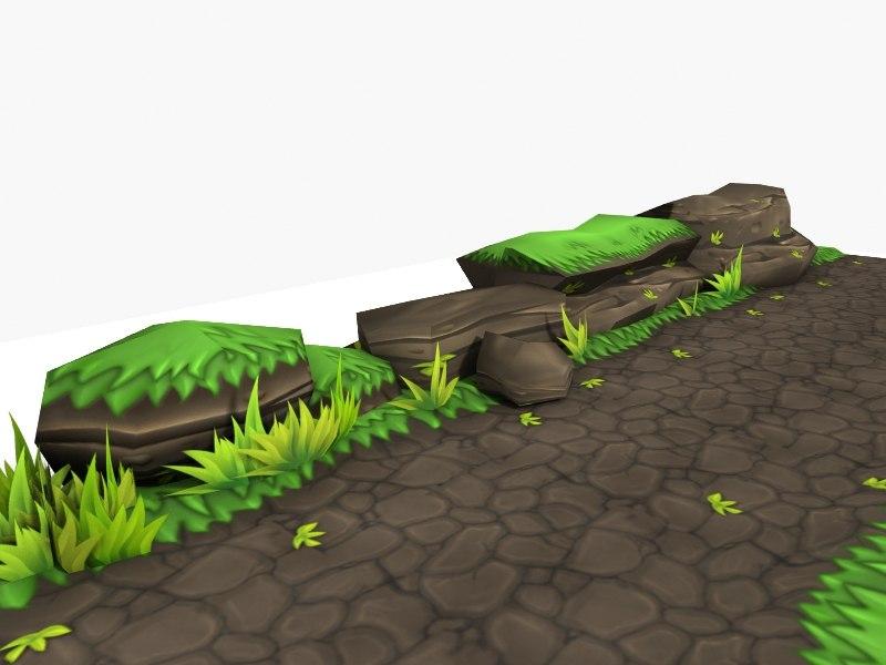 grass stone 3d lwo