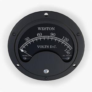 3d vintage dc voltmeter model