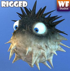 maya cartoon puffer fish rig