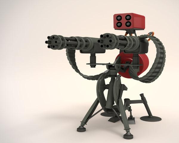 3d model of sentry gun