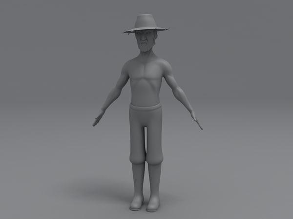 3d model farmer character