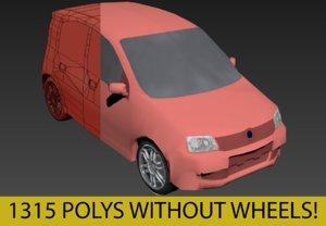 3d fiat panda iii polys model