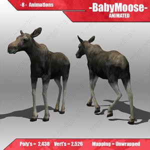 3d model baby moose
