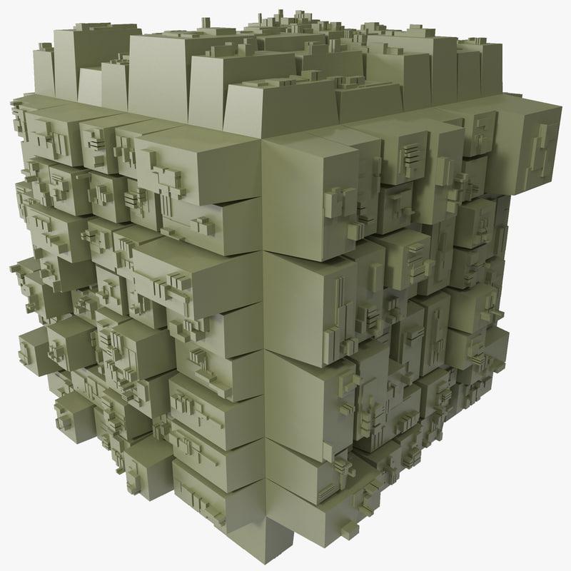 3d greeble square model