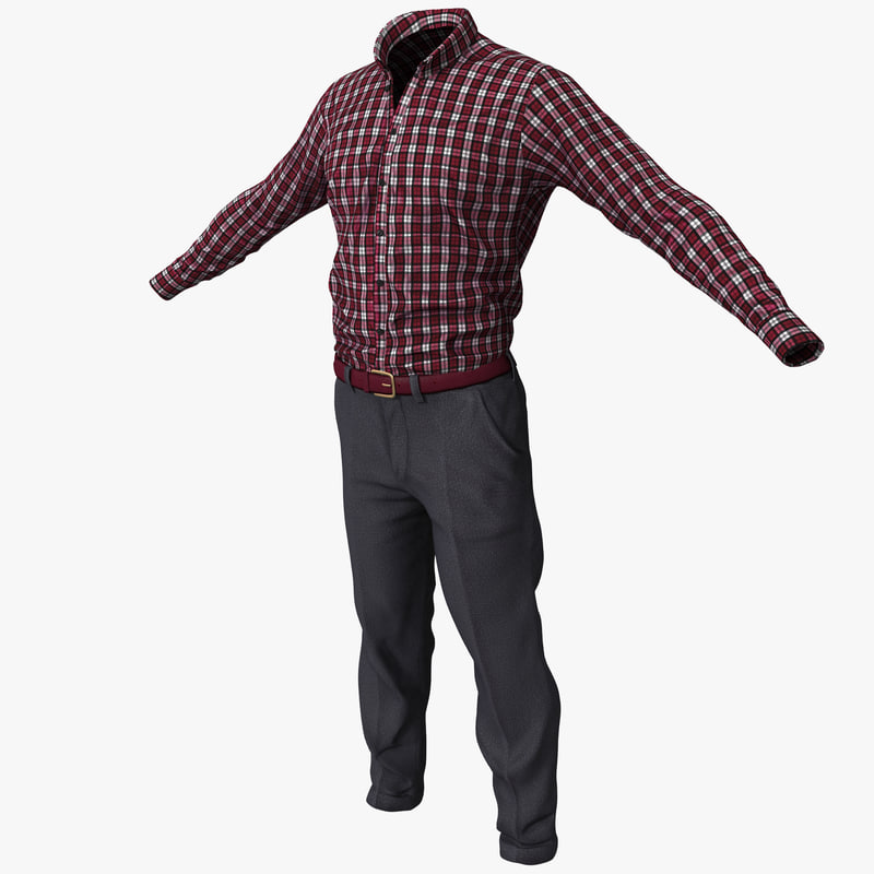 male casual clothes 3d 3ds