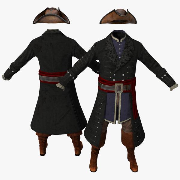 3d model pirate costume 2
