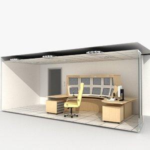 3d model room railway control center