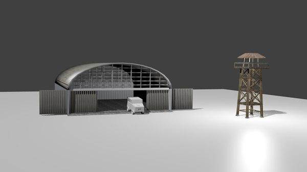 3d model hangar jeep
