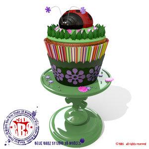 lady bug cupcakes cake 3d model