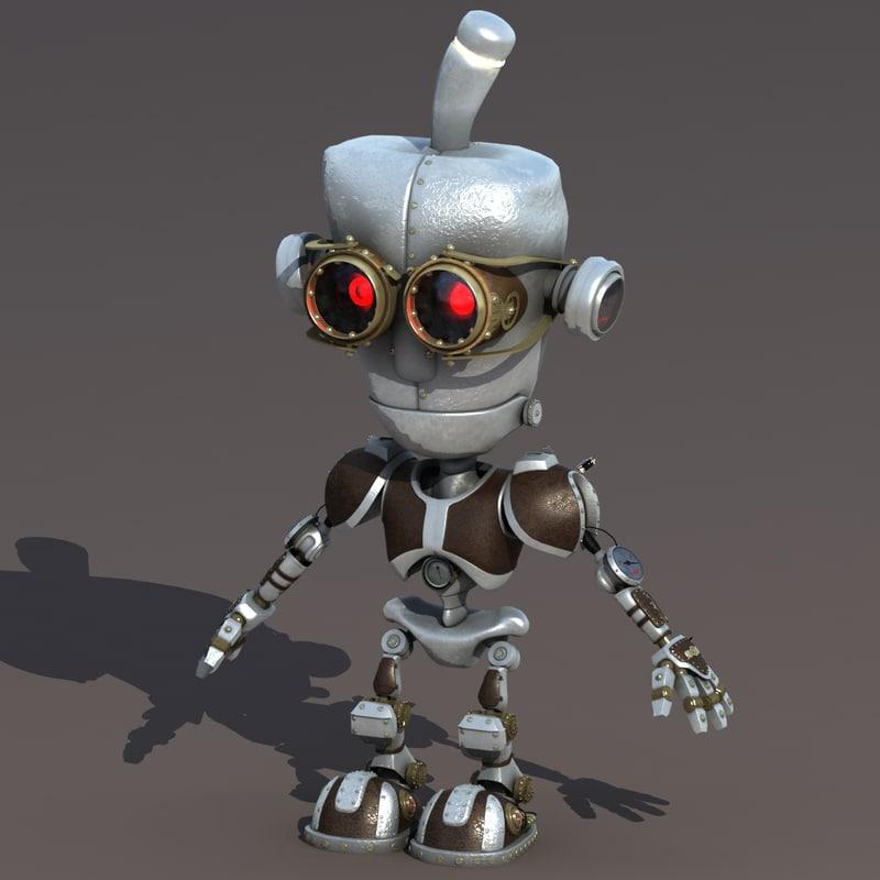 3d model punk robot rig
