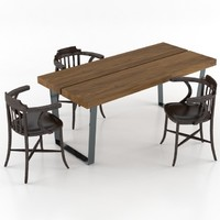 table dinning set 3d max