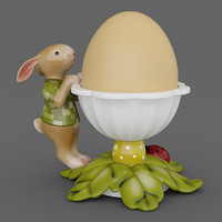 3d model of egg cup leaves bunny