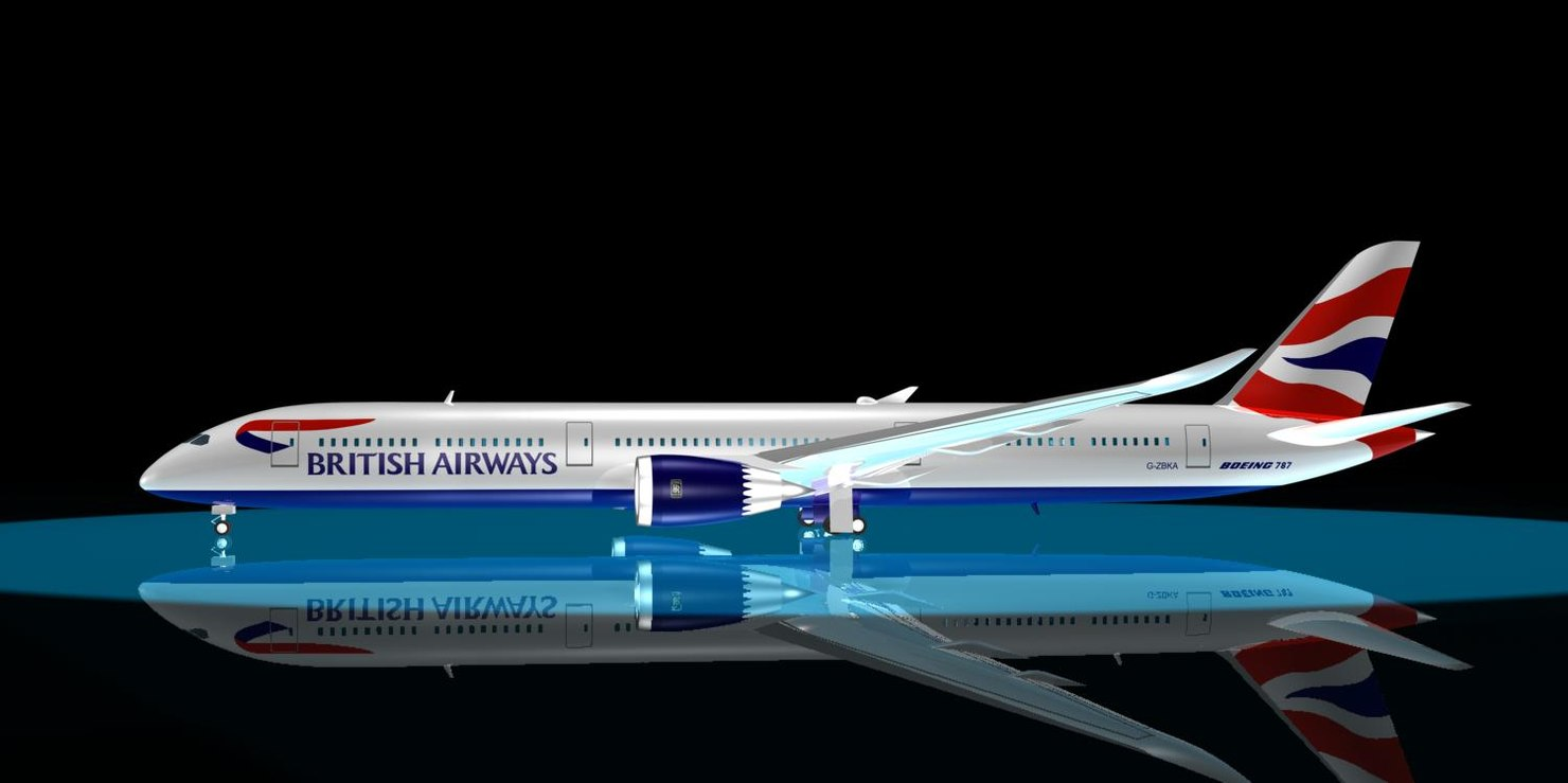 3ds max british airways 787-10 dreamliner