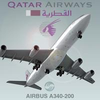 3d model airbus a340-200 qatar airways