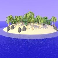 3d model realistic desert island