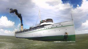 passenger liner ship 3d model
