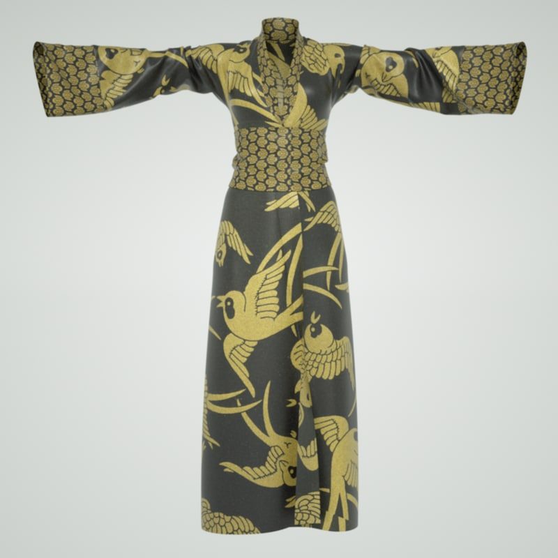 3d model cloth japanese kimono