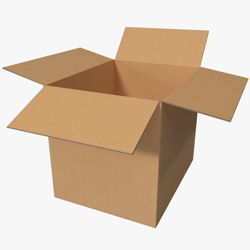 3d model open cardboard box