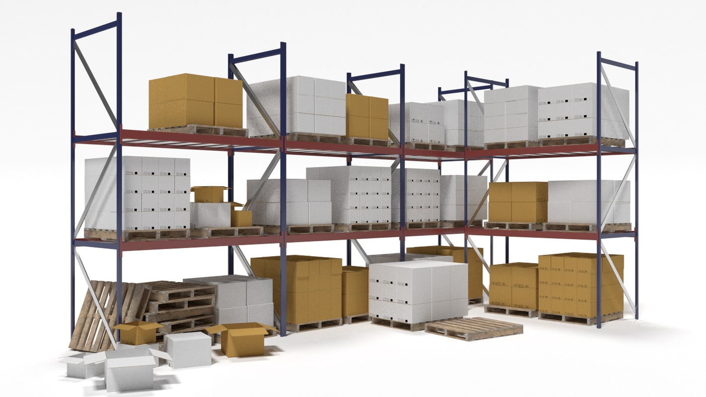 industrial racks cardboard boxes 3d blend