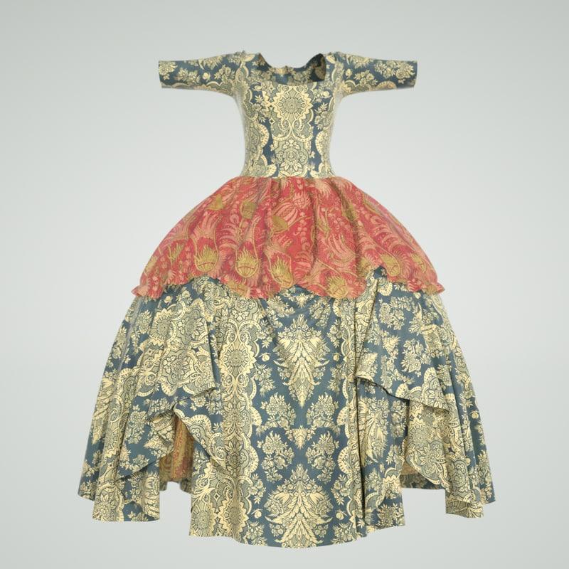 3d rococo dress model