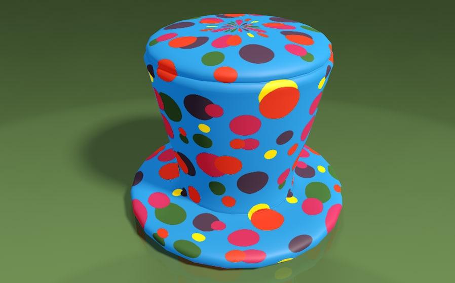 3ds hat clown multi-color