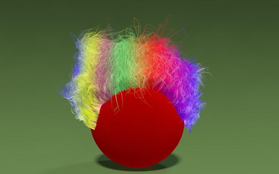 clown hair 3d model