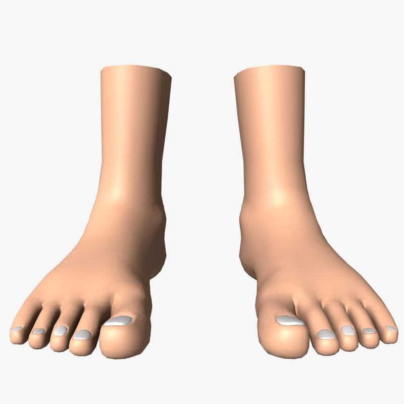 decent feet uv unwrapped 3d model
