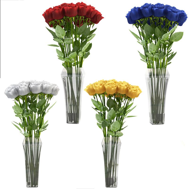 bouquet rose 3d max