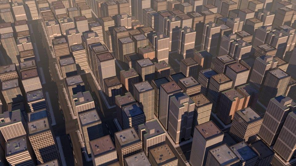 3d blend city