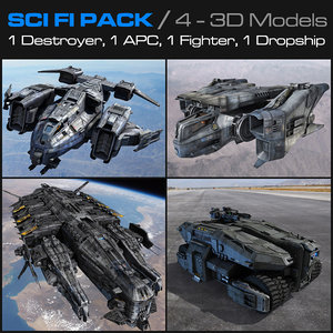 3d sci fi pack scifi fighter model