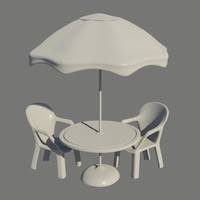 Umbrella Table and Chairs
